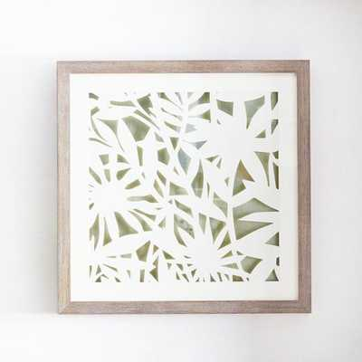 Modern Paper Cut Out Wall Art - Flower - 24x24 - Framed (Whitewashed ) - West Elm