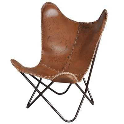 Anti-brown Leather Butterfly Chair - Overstock