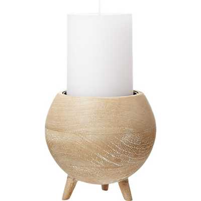 RUSSELL SPHERE WHITE WASH WOOD PILLAR CANDLE HOLDER - CB2