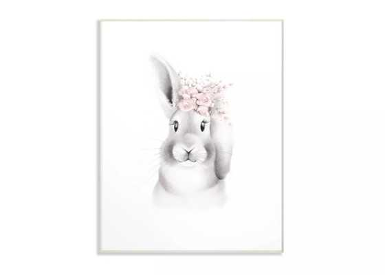 """12.5""""x0.5""""x18.5"""" Sketched Fluffy Bunny Flowers Oversized Wall Plaque Art - Stupell Industries - Target"""