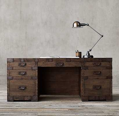 HEIRLOOM SILVER-CHEST DESK - Brown Oak - RH