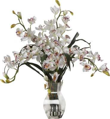 Orchid Silk Flower Arrangement in White - Wayfair