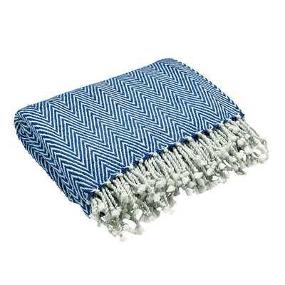 Herringbone Throw in Indigo & Light Blue - Koa Artisans