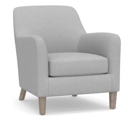 SoMa Burton Upholstered Armchair, Polyester Wrapped Cushions, Brushed Crossweave Light Gray - Pottery Barn