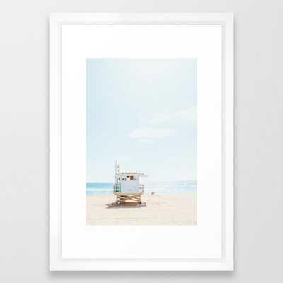 "Manhattan Beach Framed Art Print - 15""x21"" - Vector White - Society6"