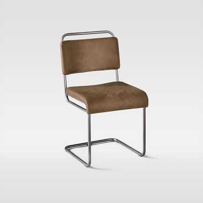 Industrial Cantilever Leather Chair, Mansum Leather, Sand/Gunmetal - West Elm