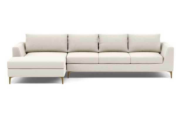Asher 4-Seat Left Sectional, Chalk Heathered Weave, Brass Leg - Interior Define