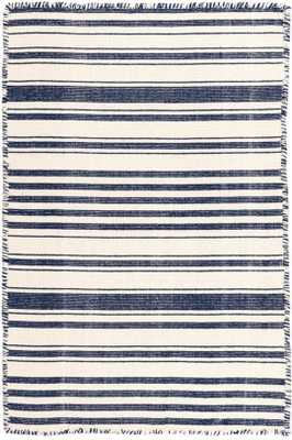 HAMPSHIRE STRIPE NAVY WOVEN COTTON RUG - Dash and Albert