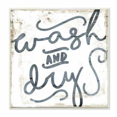 Distressed Wood and Paint Texture Wash and Dry Curly Script by Jace Grey - Textual Art Print - Wood Plaque - Wayfair