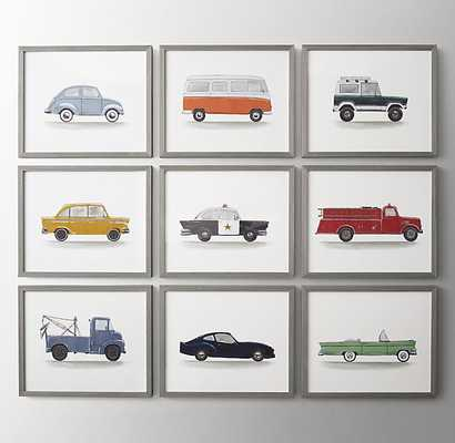 WATERCOLOR VINTAGE VEHICLE ART (SET OF 9) - RH Baby & Child