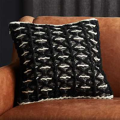 """18"""" LOUP BLACK AND WHITE PILLOW WITH DOWN-ALTERNATIVE INSERT - CB2"""