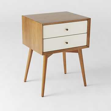 Mid-Century Nightstand, White Lacquer/Acorn - West Elm