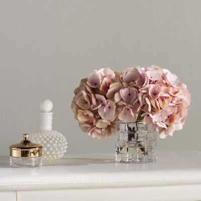 Soft Hydrangea Floral Arrangement in Vase - Birch Lane