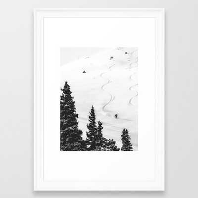 Backcountry Skier // Fresh Powder Snow Mountain Ski Landscape Black and White Photography Vibes Framed Art Print - Society6