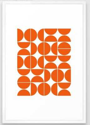 Mid Century Modern Geometric 04 Orange Framed Art Print - Society6