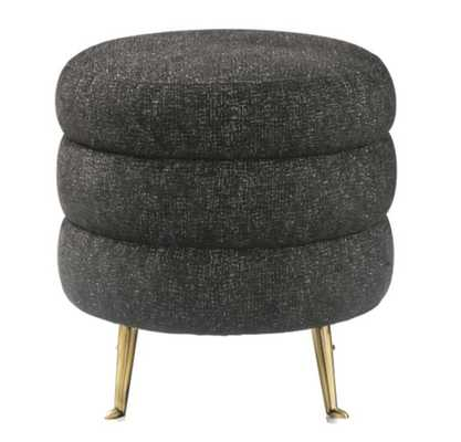 Amy Black Tweed Ottoman - Maren Home