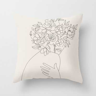 Woman with Flowers Minimal Line III Throw Pillow - Society6