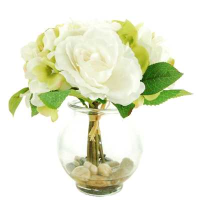 Mixed Floral in a Glass Vase with Faux Water - Wayfair