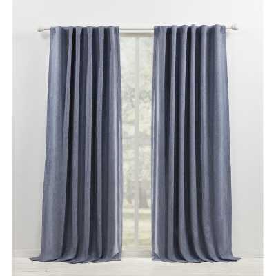 Sallie Blackout Cotton-Linen Blend Curtain Panel Blue - Wayfair