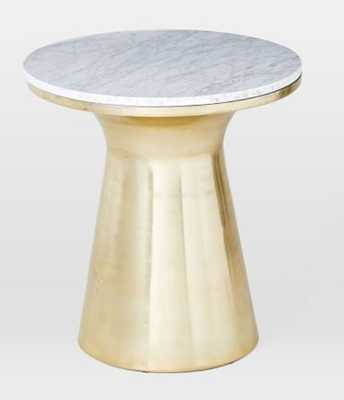 Marble Topped Pedestal Side Table - White Marble/Antique Brass - West Elm