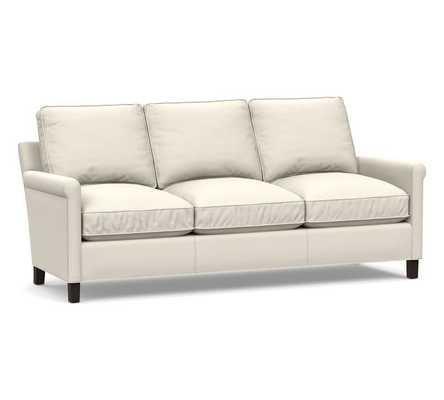 Tyler Roll Arm Leather Sofa without Nailheads, Down Blend Wrapped Cushions, Signature Chalk - Pottery Barn