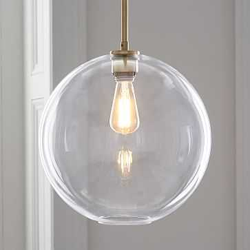 Sculptural Glass Shade, Large Globe, Clear - West Elm