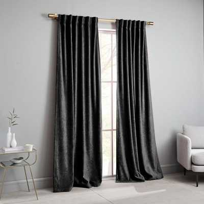 "Worn Velvet Curtain, Metal, 48""X96"" - Unlined - West Elm"