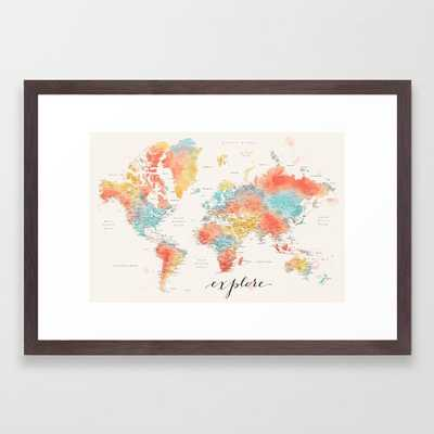 """Explore"" - Colorful watercolor world map with cities Framed Art Print - Society6"