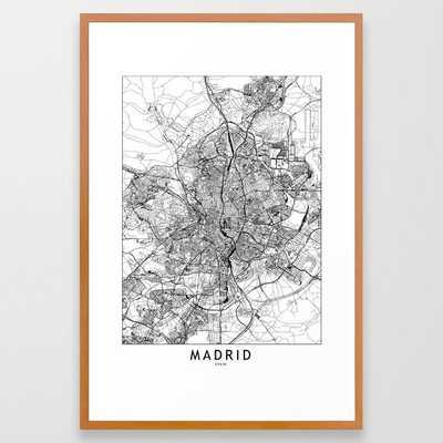 Madrid White Map Framed Art Print - Society6
