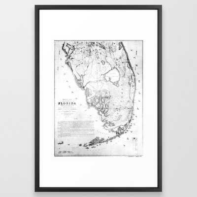 Vintage Map of Southern Florida (1856) Framed Art Print - Society6