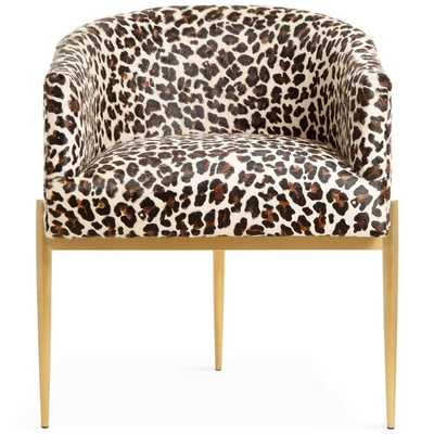 Art Deco Dining Chair in Leopard Print Cowhide - modshop