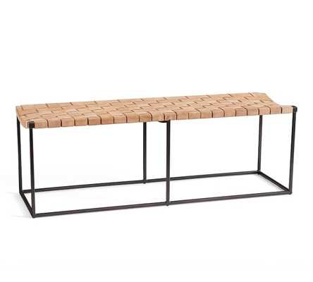 Woven Leather Bench - Pottery Barn