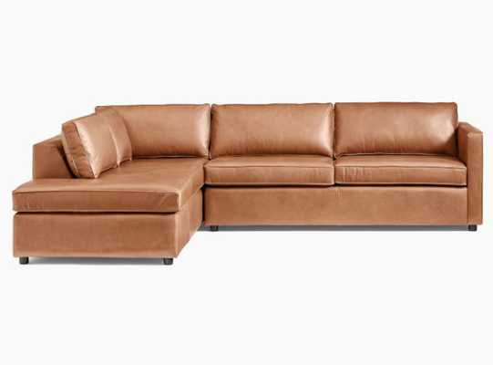 Harris Sectional Set 02: Left Arm Terminal Chaise & Right Arm Sleeper Sofa, Vegan Leather, Saddle, Concealed Support, Poly - West Elm