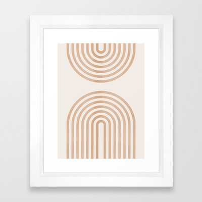 "Rainbow lines Framed Art Print - 10"" x 12"", Vector White - Society6"