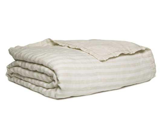 Full/Queen Linen Striped Quilt in Natural | Parachute - Parachute