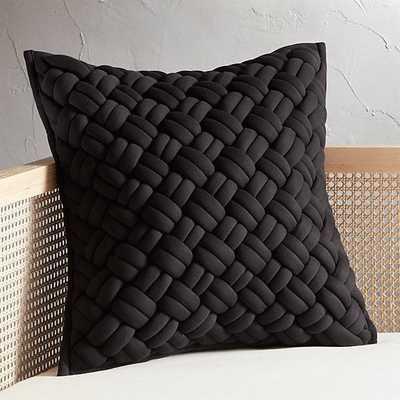 """20"""" Jersey Black InterKnit Pillow with Down-Alternative Insert"" - CB2"
