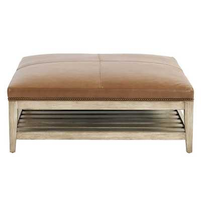 Ballard Designs Carmen Leather Ottoman with Brass Nailheads Latte (wood finish not shown) - Ballard Designs