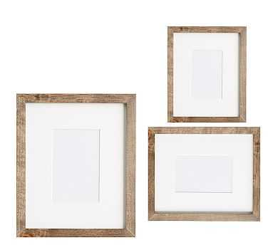 Wood Gallery Single Opening Frame, Set Of 3 - Gray - Pottery Barn