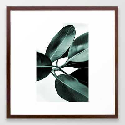 Minimal Rubber Plant Framed Art Print - 22 x 22 - Conservative Walnut - Society6