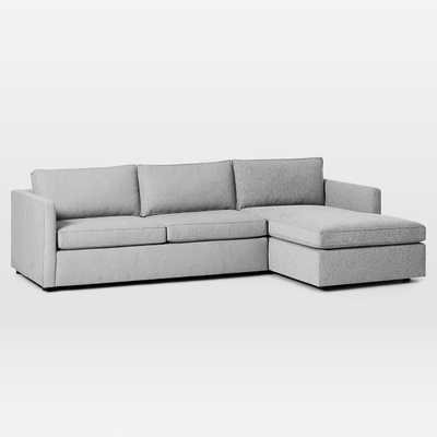 "Harris Sectional Set 07: Left Arm 75"" Sofa, Right Arm Storage Chaise, Poly, Chenille Tweed, Irongate, - West Elm"