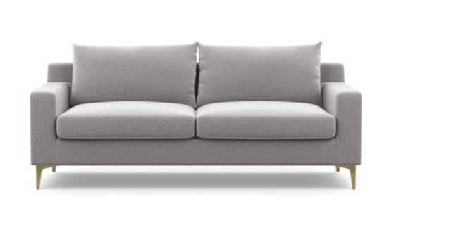 "Sloan Sofa in Ash Fabric with Brass Plated legs 87"" - Interior Define"