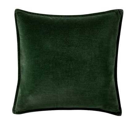 """Washed Velvet Pillow Cover, 20 x 20"""", Hunter - Pottery Barn"""