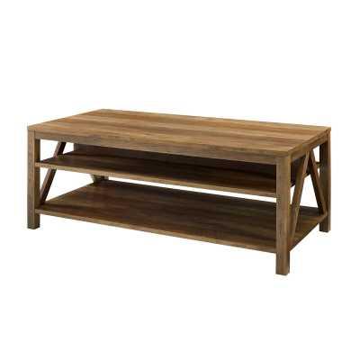 Vonda Coffee Table with Storage / Reclaimed Barnwood - Wayfair