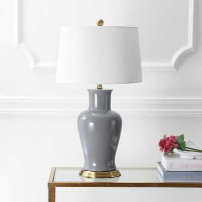 JONATHAN Y Julian 29 in. Gray Ceramic Table Lamp - Home Depot