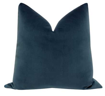 "Signature Velvet Prussian Blue Throw Pillow Cover / 18""x18"" - Little Design Company"