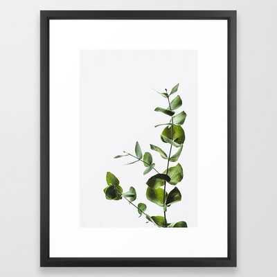 """Leaves Art Print - Eucalyptus Leaf  - Framed Vector Black - 20"""" X 26"""" - Society6"""