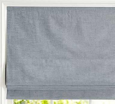 "Emery Linen/Cotton Cordless Roman Shade, 44 x 64"", Blue Dawn - Pottery Barn"