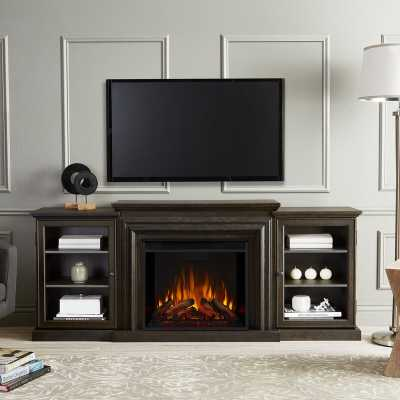 """Frederick 72"""" TV Stand with Fireplace, Distressed Blackwash - Wayfair"""