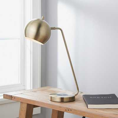 QUIRK CHARGE DESK LAMP, ANTIQUE BRASS - Shades of Light