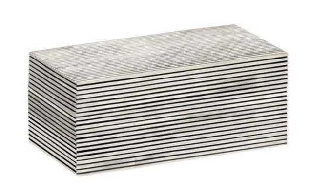 Pinstripe Decorative Box Medium in Black & White - Koa Artisans